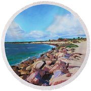 Round Beach Towel featuring the painting The Beach At Ponce Inlet by Deborah Boyd