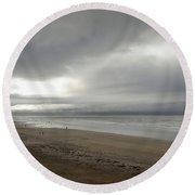 The Beach At Ventry Dingle Peninsula Round Beach Towel by Nadalyn Larsen