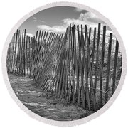 The Beach Fence Round Beach Towel