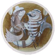 Round Beach Towel featuring the painting The Beach by Marina Gnetetsky