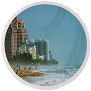 The Beach Near Fort Lauderdale Round Beach Towel by Eric Tressler
