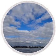 The Beach Round Beach Towel by Robert Nickologianis