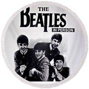 The Beatles Circa 1964 Round Beach Towel