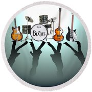 The Beatles Round Beach Towel by Lena Day