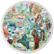 The Beatles Rooftop Concert - Watercolor Painting Round Beach Towel