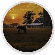 The Beauty Of A Rural Sunset Round Beach Towel by Mary Carol Story