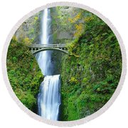 The Beauty Of Multnomah Falls Round Beach Towel