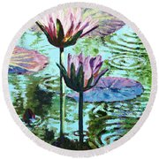 The Beauty Of The Lilies Round Beach Towel