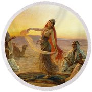 The Bedouin Dancer Round Beach Towel