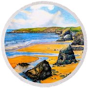 The Bedruthan Steps Cornwall Round Beach Towel