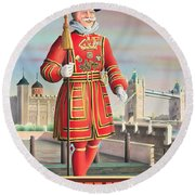 The Beefeater Round Beach Towel by Peter Green