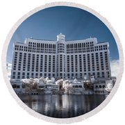 The Bellagio Hotel And Casino In Infrared Round Beach Towel