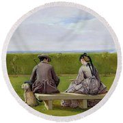 The Bench By The Sea Round Beach Towel