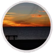 Round Beach Towel featuring the photograph The Bench by Faith Williams