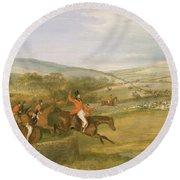 The Berkeley Hunt, Full Cry, 1842 Round Beach Towel