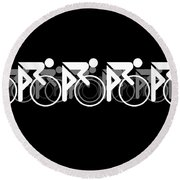 The Bicycle Race 2 Black Round Beach Towel