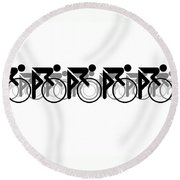 The Bicycle Race 2 White Round Beach Towel