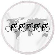 The Bicycle Race 3 Round Beach Towel