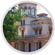 The Bidwell Mansion Round Beach Towel