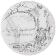 Round Beach Towel featuring the painting The Big Oak  by Felicia Tica