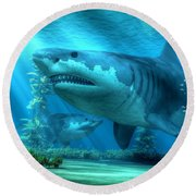 The Biggest Shark Round Beach Towel