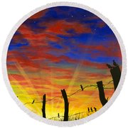 The Birds - Red Sky At Night Round Beach Towel