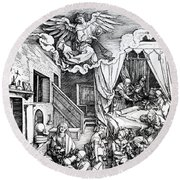 The Birth Of The Virgin, From The Cycle Of The Life Of The Virgin, 1511 Round Beach Towel