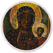The Black Madonna Round Beach Towel