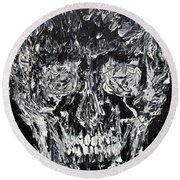 The Black Skull - Oil Portrait Round Beach Towel