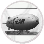 The Goodyear Blimp In 1979 Round Beach Towel
