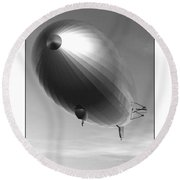 Round Beach Towel featuring the digital art The Blimp... by Tim Fillingim