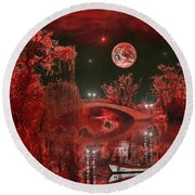 The Blood Moon Round Beach Towel by Michael Rucker