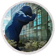 The Blue Bear  Round Beach Towel by Dany Lison