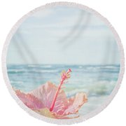 Round Beach Towel featuring the photograph The Blue Dawn by Sharon Mau