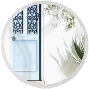 Round Beach Towel featuring the photograph The Blue Door by Holly Kempe