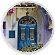 The Blue Door-santorini Round Beach Towel by Tom Prendergast