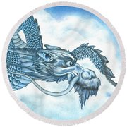 The Blue Dragon Round Beach Towel by Troy Levesque