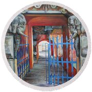 Round Beach Towel featuring the painting The Blue Gate by Marina Gnetetsky