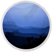 Round Beach Towel featuring the photograph The Blue Hills by Matt Harang