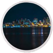 The Blue Monster Round Beach Towel by James Heckt