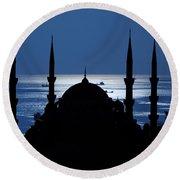 The Blue Mosque Round Beach Towel