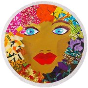 Round Beach Towel featuring the tapestry - textile The Bluest Eyes by Apanaki Temitayo M