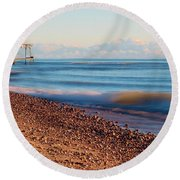 The Boat Hoist Round Beach Towel by Patrick Shupert