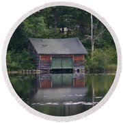 Round Beach Towel featuring the photograph The Boat House On Mt Chocorua Lake by Denyse Duhaime