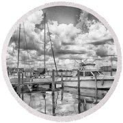 Round Beach Towel featuring the photograph The Boat by Howard Salmon
