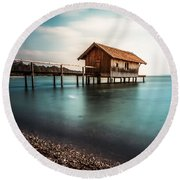 The Boats House II Round Beach Towel