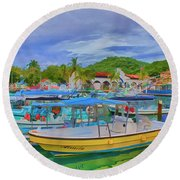 The Boats Of Hautulco Round Beach Towel