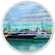 The Boats Of Malaga Spain Round Beach Towel
