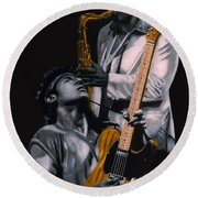 Bruce Springsteen And Clarence Clemons Round Beach Towel by Thomas J Herring