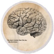 The Brain Is Wider Than The Sky Round Beach Towel